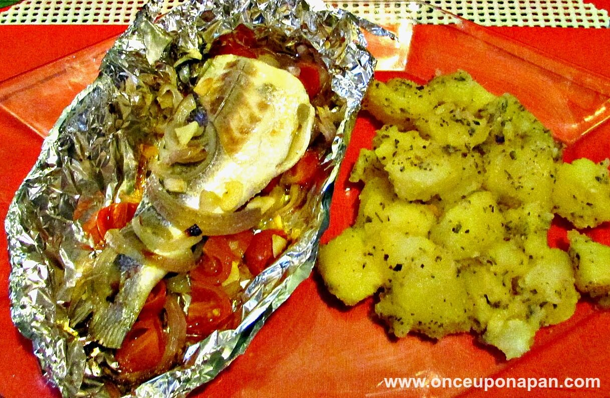 Sea bass baked in foil