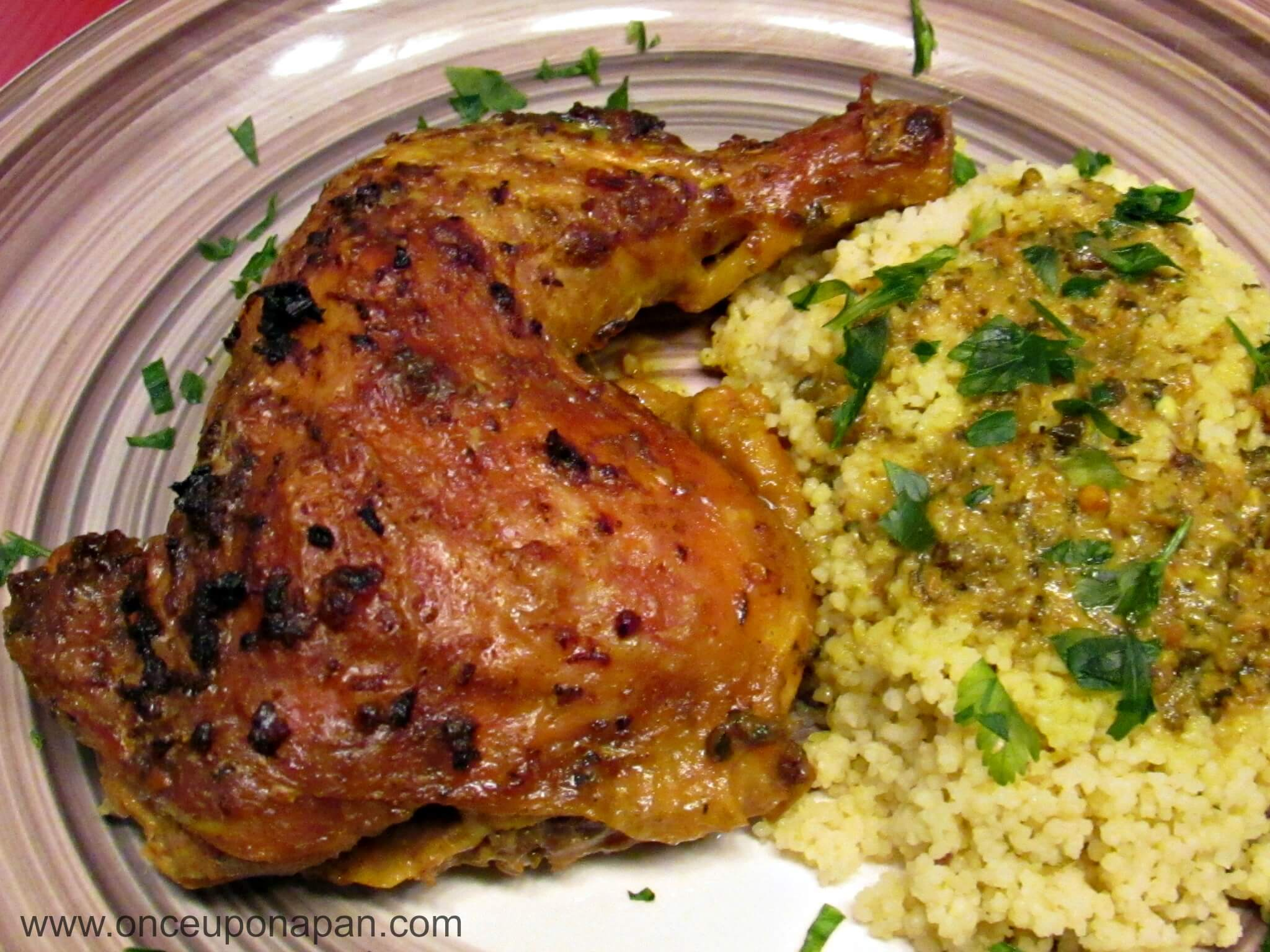Chicken Legs roasted Indian style with Lemon Couscous