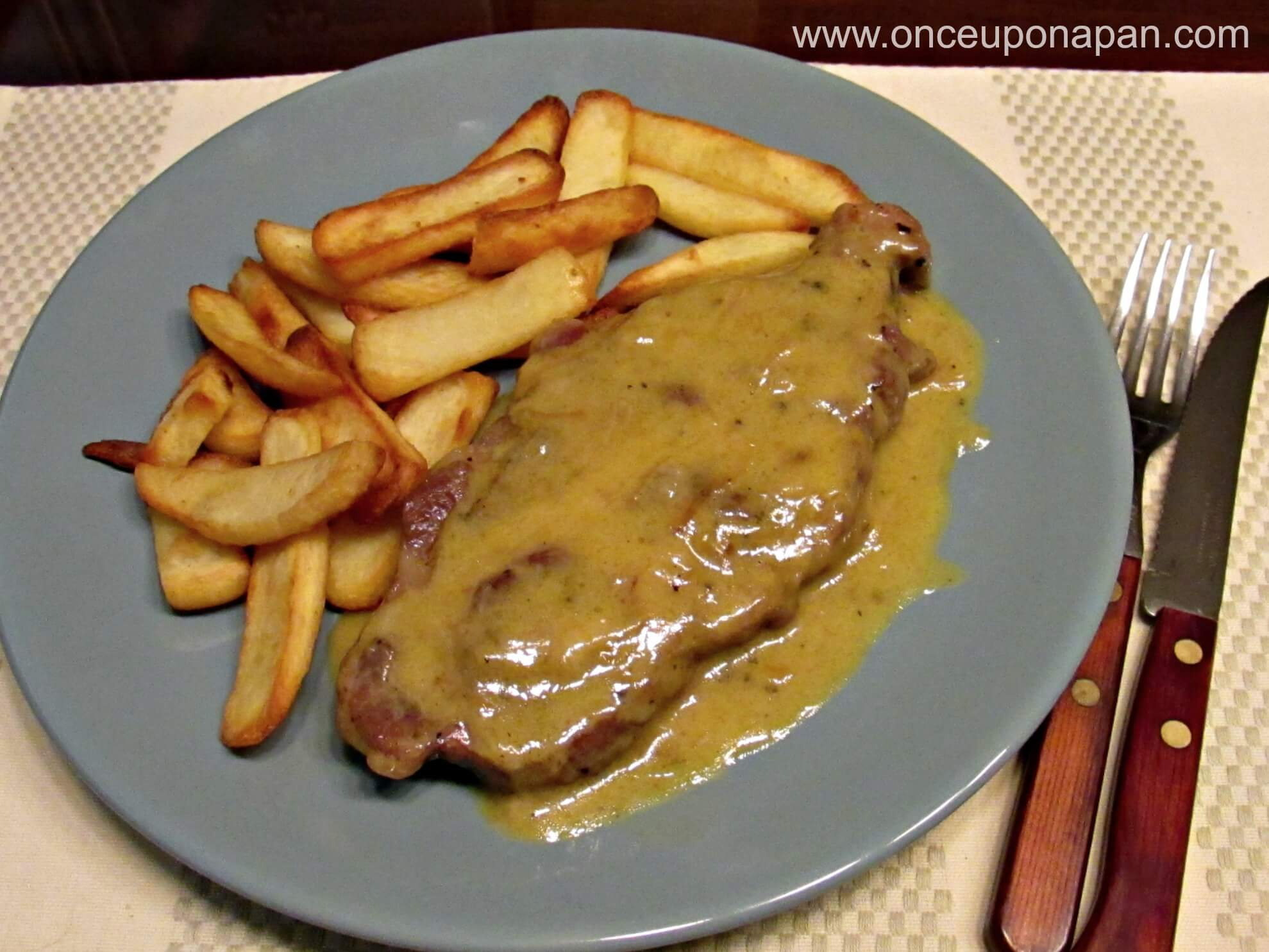 Pork collar chops with honey and mustard sauce