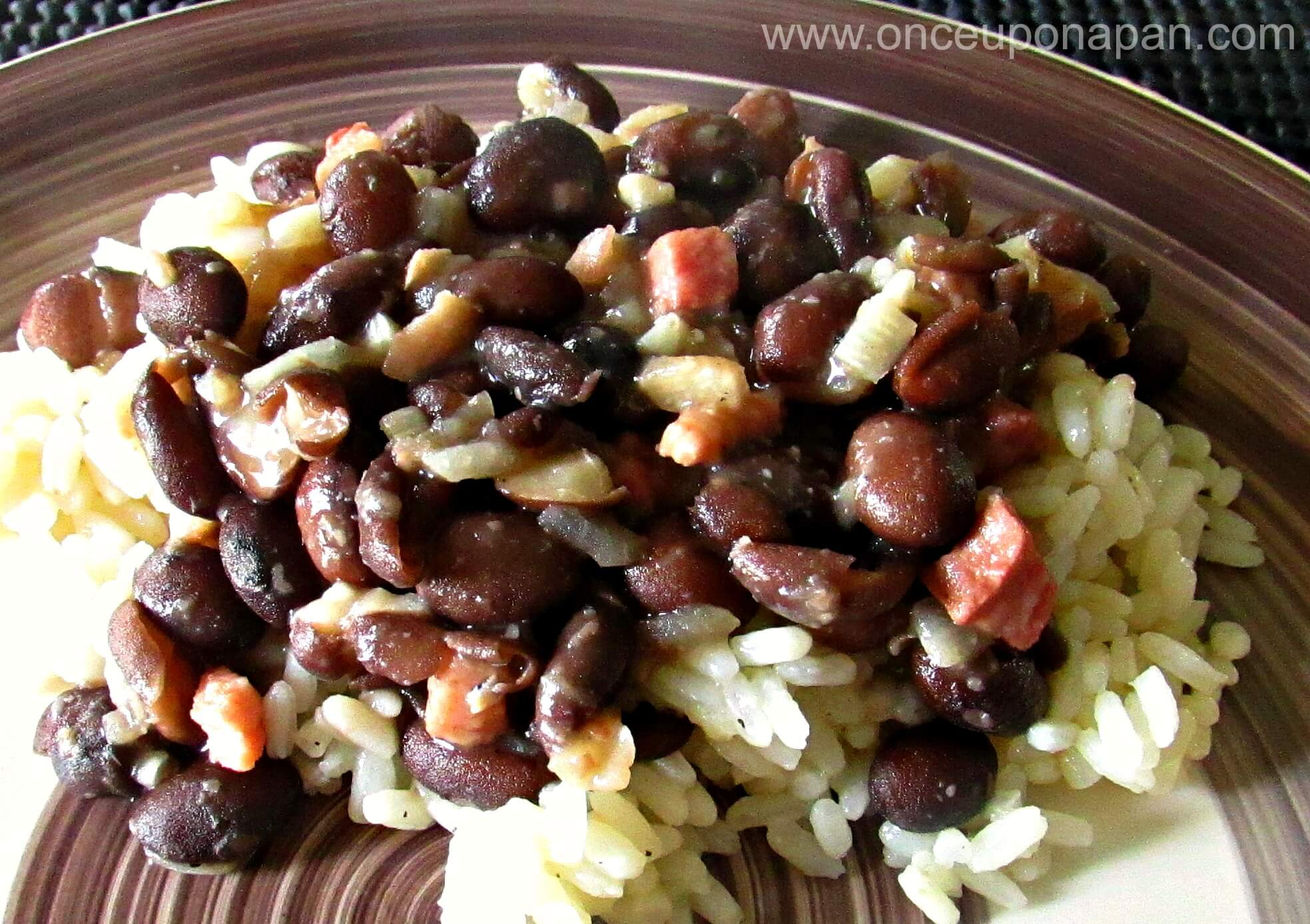 rice with beans and bacon
