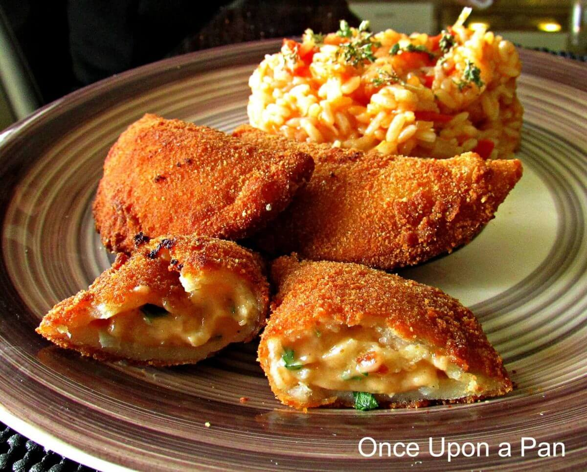 Shrimp cakes Portuguese style with tomato rice