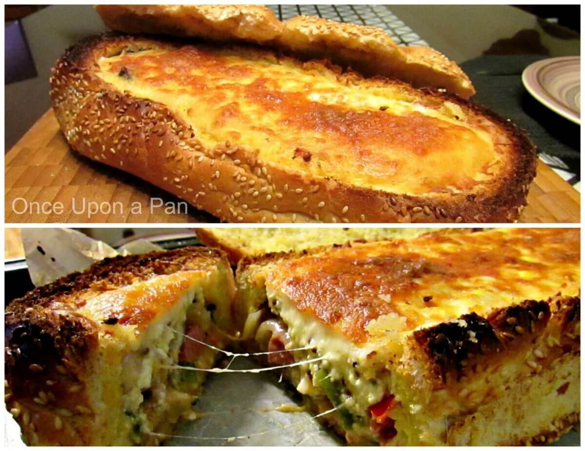 Hot dog quiche in a loaf