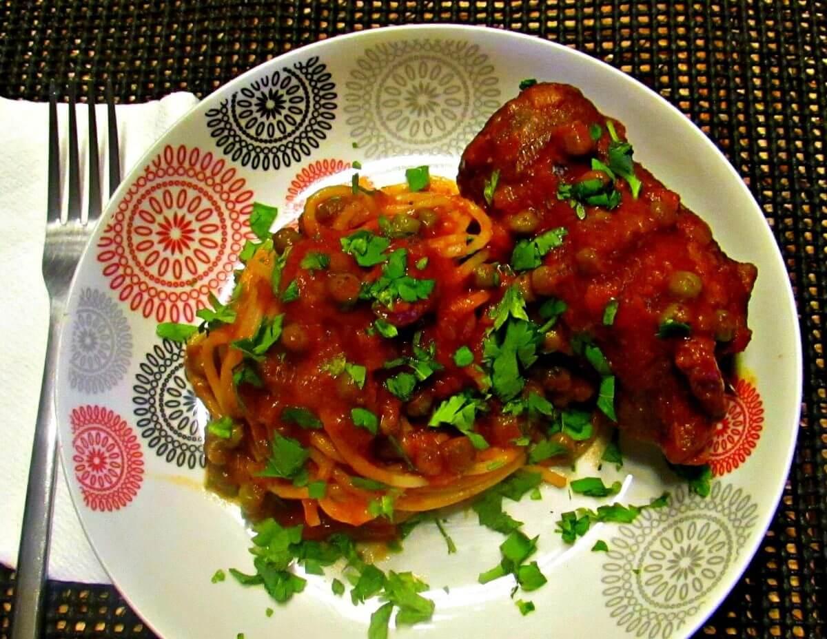 my maltese bragoli with spaghetti